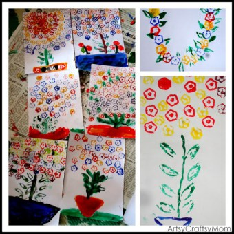 Volunteering with kids – Okra & french beans printing