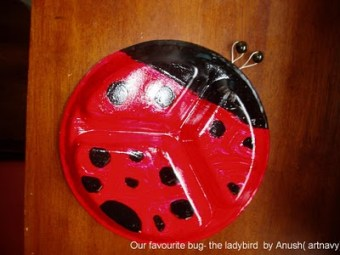 Thermocol plate red lady bug