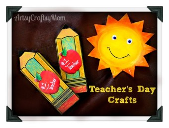 Teachers day pencil shaped card + Free printable template