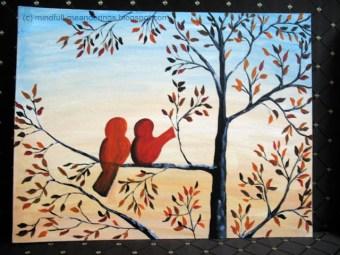Acrylic on canvas - 2 birds on a tree