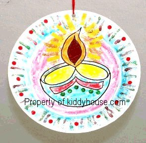 thermocol paper plate diya art wall hanging