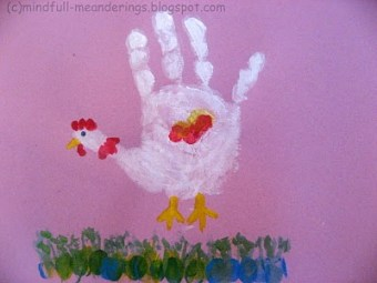 Handprint Chicken and caterpiller - Easter art for kids