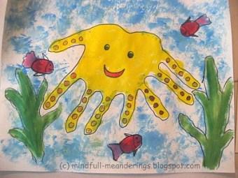 handprint Octopus -Aquatic animal craft - O- for octopus