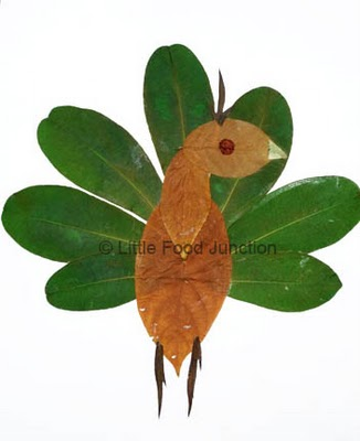 Leaf collage - Nature inspired crafts - Peacock - green craft