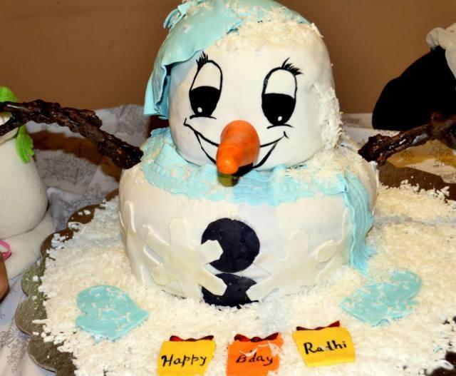 Snowman Theme Birthday Party Cake