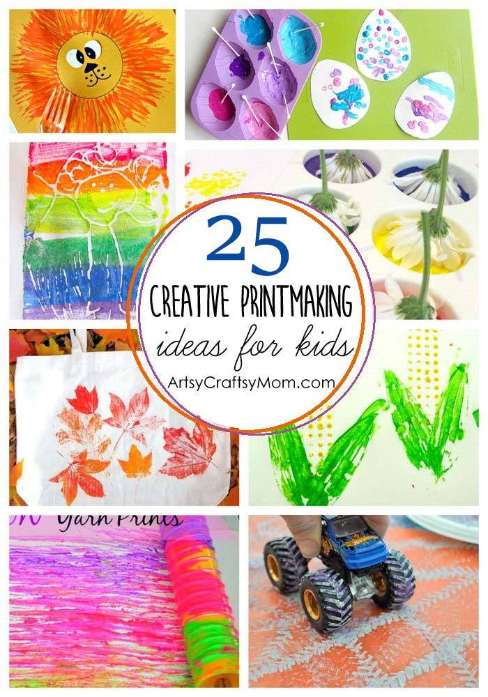 25 of the most amazing Printmaking ideas for kids - use flowers, brushes, twigs, toys to create artwork