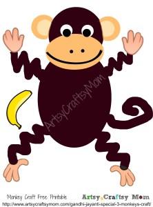 Gandhi Jayanti Monkey Craft With Free Printable Artsy
