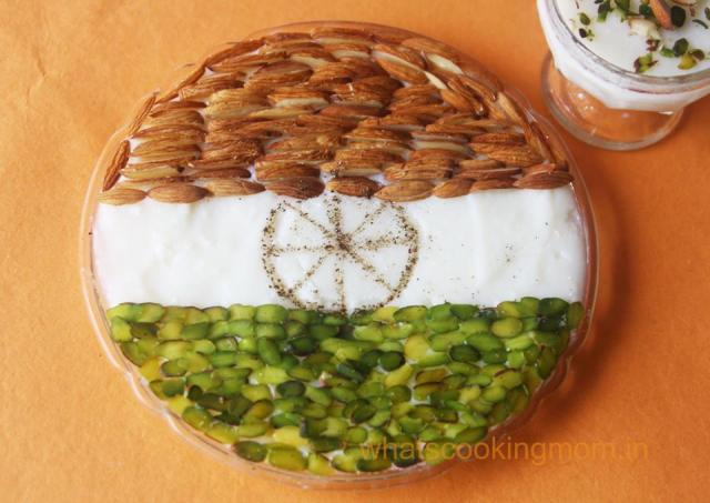 India Flag inspired phirni - 50+ Ideas for India Independence Day Party, August 15th - craft, Books, recipes & national symbol craft - Tiger, lotus, mango, banyan tree, peacock crafts