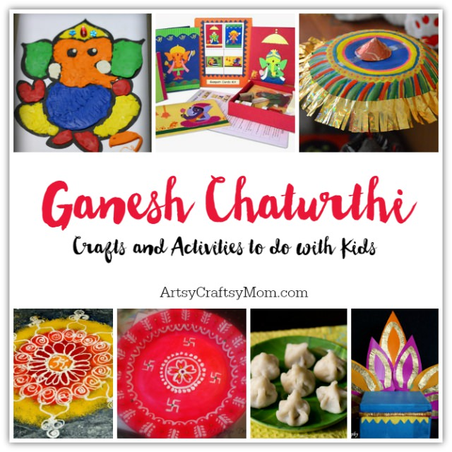 via ArtsyCraftsyMom.com - Ganesh Chaturthi Crafts and Activities to do with Kids - Make a Clay Ganesha, decorate, Ganesha's throne & umbrella, rangoli ideas, recipes, books and more