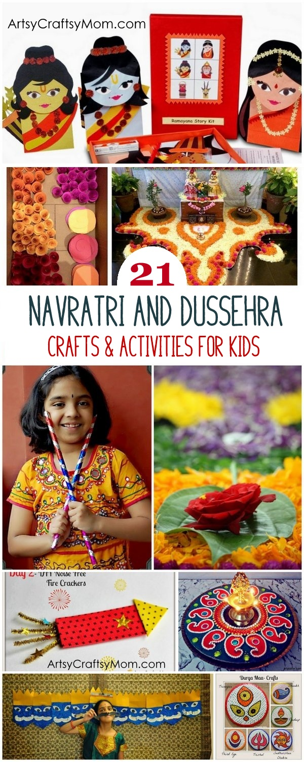 21 Navratri Dussehra Activities & Crafts to get your child involved in the festivities- crafts, puppets and activities that are both fun & educational.