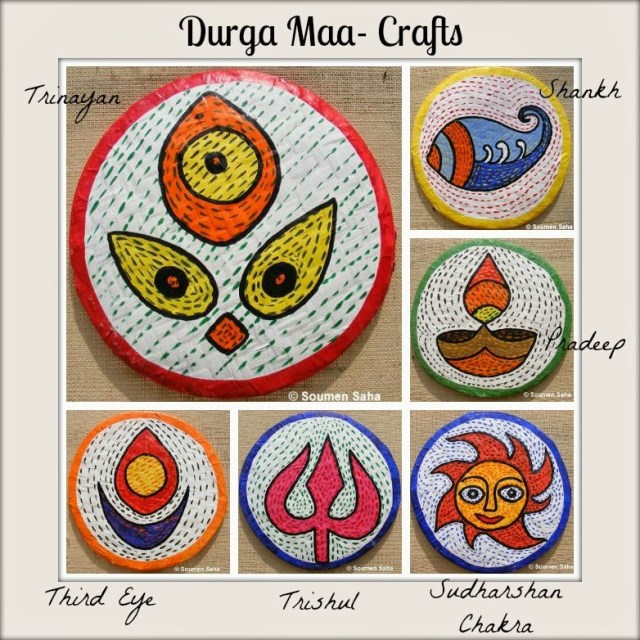 Durga craft Collage | Day 6 Durga Maa Crafts |21 Navratri Dussehra Activities and Crafts to get your child involved in the festivities- crafts, puppets and activities that are both fun and educational.
