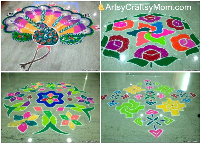 Rangoli-designs for navratri - 21 Navratri Dussehra Activities and Crafts to get your child involved in the festivities- crafts, puppets and activities that are both fun and educational.