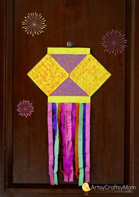 aakash kandil card for Diwali - 15+ Diwali card making ideas for kids - kandils, lamps, crackers, lanterns. easy to make at Home with kids and makes a great handmade gift from ArtsycraftsyMom.com