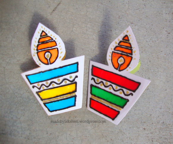 diwali-card-making-ohp-card - 15+ Diwali card making ideas for kids - kandils, lamps, crackers, lanterns. easy to make at Home with kids and makes a great handmade gift from ArtsycraftsyMom.com