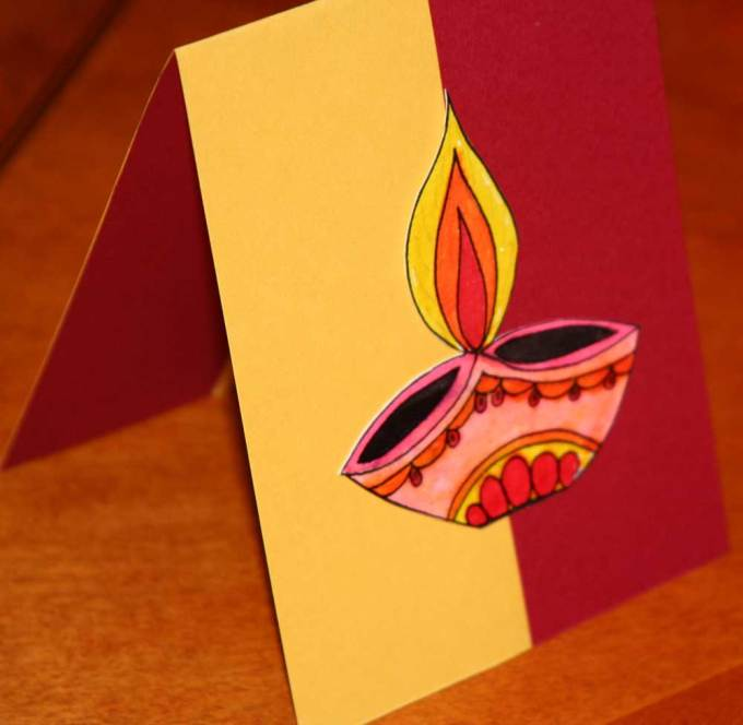 Diwali fire cracker card | 15+ Diwali card making ideas for kids - kandils, lamps, crackers, lanterns. easy to make at Home with kids and makes a great handmade gift from ArtsycraftsyMom.com