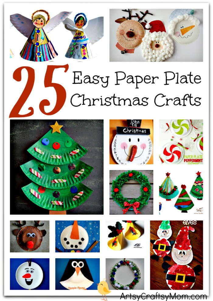 25 Easy Christmas Crafts Made from Paper Plates- Includes paper plate craft trees bells  sc 1 st  Artsy Craftsy Mom : paper christmas plates - Pezcame.Com