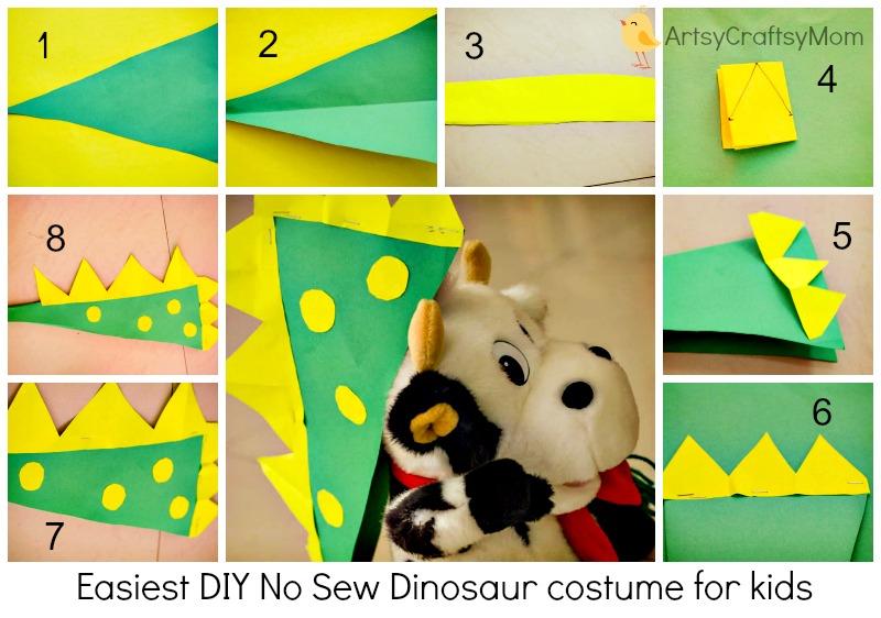Easiest DIY No Sew Dinosaur costume for kids