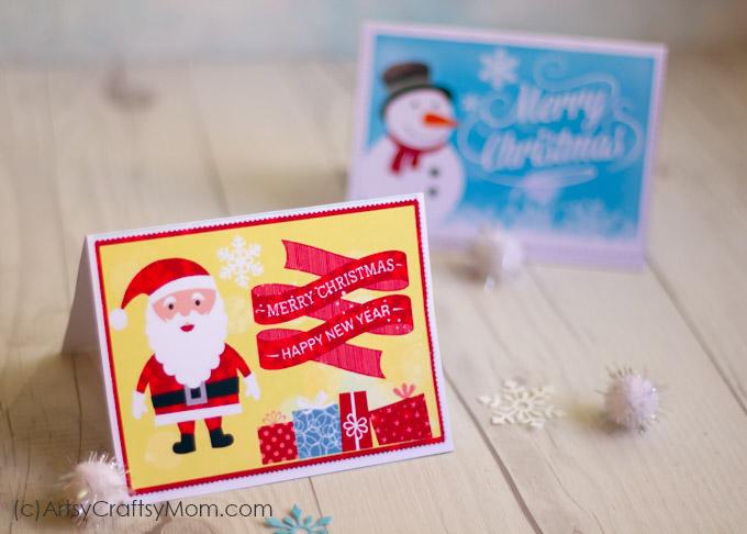 photo regarding Printable Greeting Card Stock referred to as 2 No cost Printable Xmas Playing cards - Print at property - Artsy