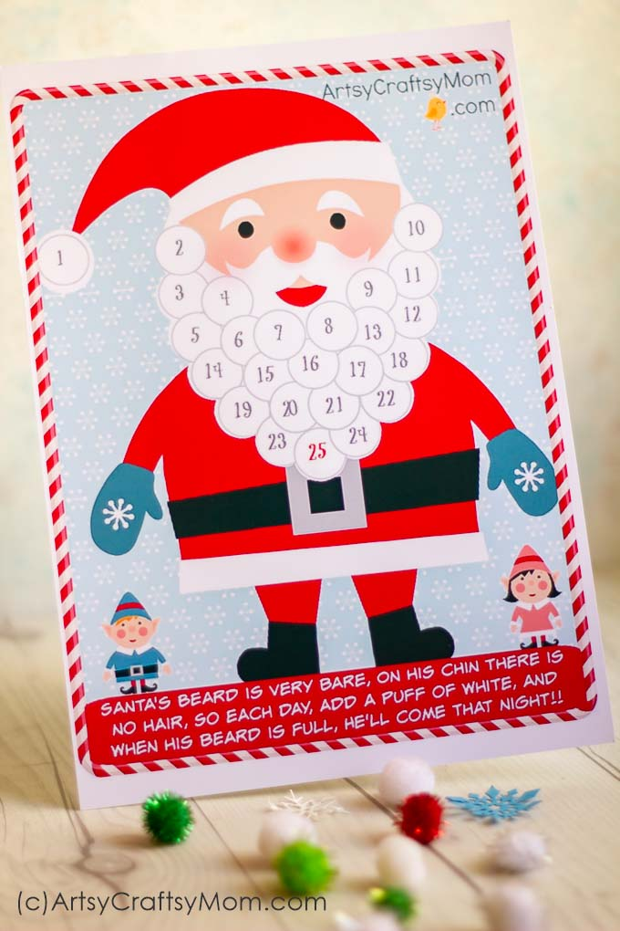 graphic relating to Printable Beard named Absolutely free Vacation Printable - Santa Introduction Calendar and reward tags
