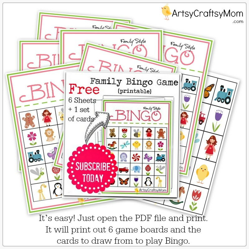 Family Bingo game Free printable