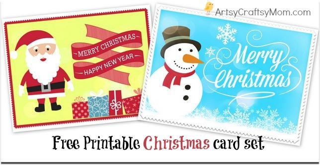 2 free printable christmas cards  print at home  artsy