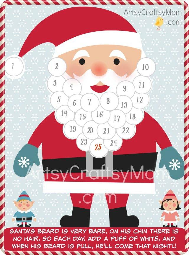 Free Holiday Printable Santa Advent Calendar And Gift
