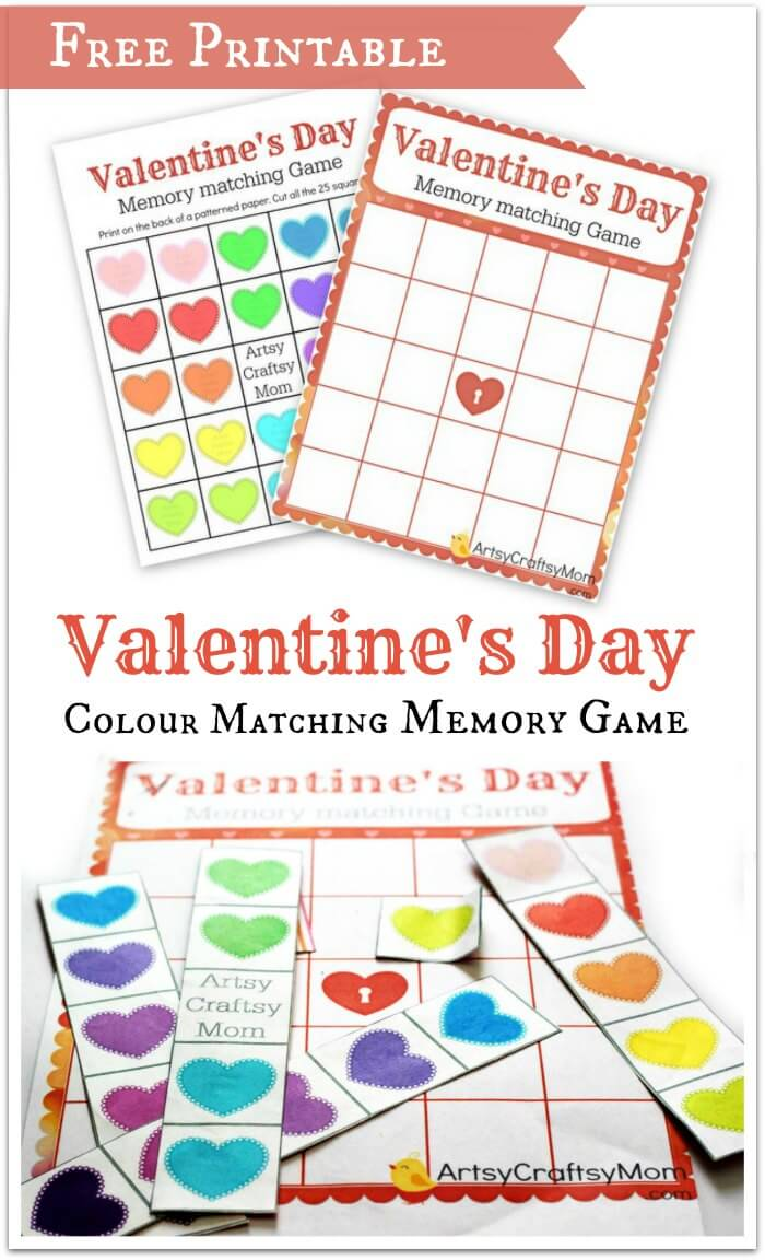 Free Printable Valentines day Colour matching Memory game1