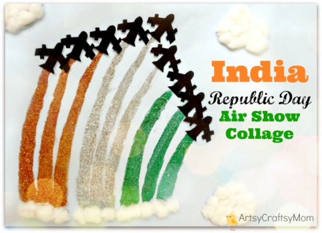 India Independence Day Air Show Collage Craft - 50+ Ideas for India Independence Day Party, August 15th - craft, Books, recipes & national symbol craft - Tiger, lotus, mango, banyan tree, peacock crafts