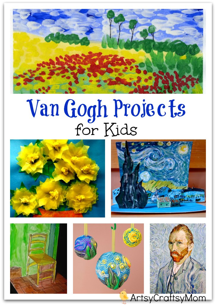 Van Gogh Projects for Kids - 10 Inspiring Ideas to try with your kids, celebrating 'Inspire your Heart with Art Day' starry night, sunflowers, art & craft.