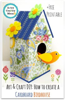 Art & Craft DIY How to create a cardboard birdhouse - pin