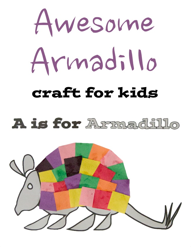 photo about Printable Craft for Kids called A is for Armadillo Printable Craft for small children - Artsy Craftsy Mother