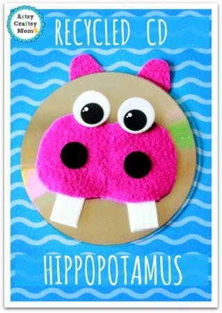 Recycled CD Hippopotamus craft + free printable