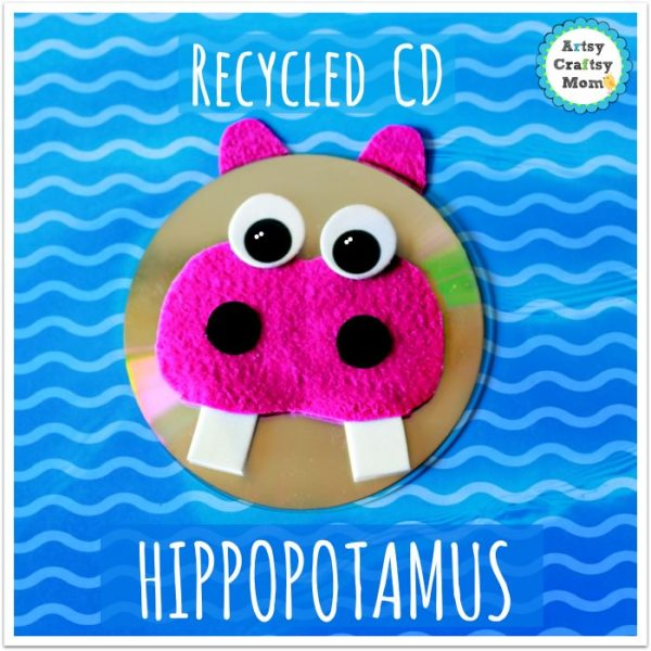 Recycled CD Hippopotamus craft , H for Hippo , Africa, wild animal , earth day craft