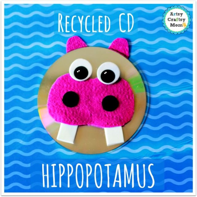 Recycled cd hippo craft