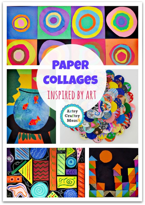 paper collages inspired by art - A Collection of 70+ Simple Paper collages that kids will love - A collection of craft ideas that kids can make at home. Frugal, Open-ended & a lot of fun. Make Fun animal collages, Spring, Summer & Collage art for the holidays too.