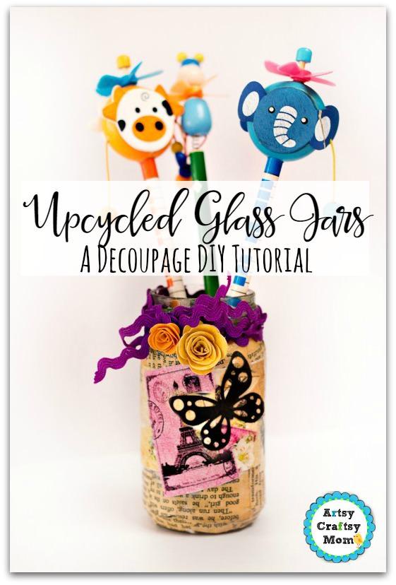 decoupage glass jar