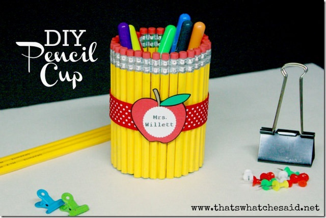 01-Pencil-Holder - ArtsyCraftsyMom.com Teachers love cute handmade gifts from their students. Check out these 12 Useful Crafts For Teachers Day that Kids Can Make without too much time or effort!