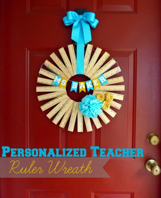 07-Ruler-Wreath-680x832 - ArtsyCraftsyMom.com Teachers love cute handmade gifts from their students. Check out these 12 Useful Crafts For Teachers Day that Kids Can Make without too much time or effort!