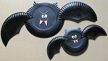 04-PaperPlate bat 10 Easy Halloween Bat Crafts for Kids - Bats Art Projects, Toilets Paper Roll Bats, Foam Bats. Hang around the house as October is Bat Appreciation Month