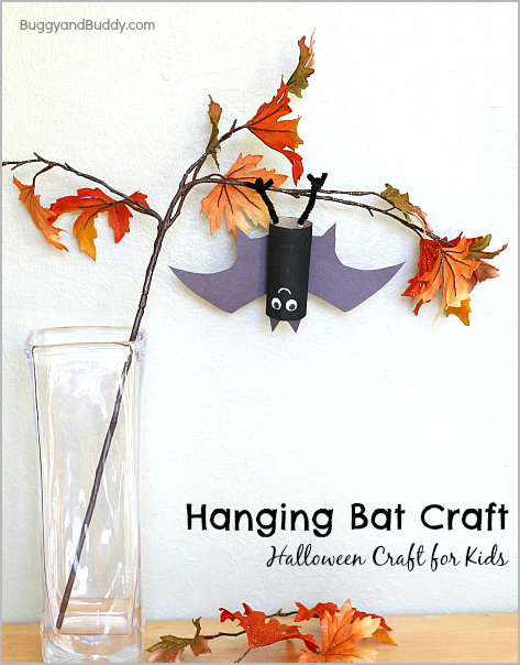 hanging TP roll bat craft - 10 Easy Halloween Bat Crafts for Kids - Bats Art Projects, Toilets Paper Roll Bats, Foam Bats. Hang around the house as October is Bat Appreciation Month