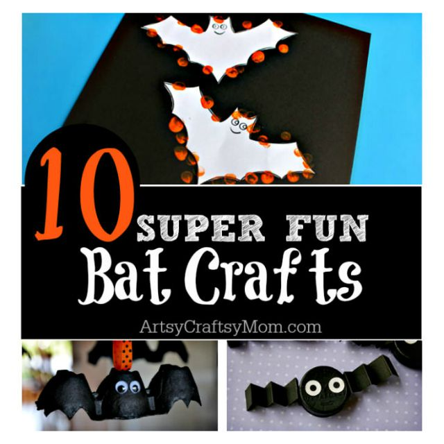 10 Easy Halloween Bat Crafts for Kids - Bats Art Projects, Toilets Paper Roll Bats, Foam Bats. Hang around the house as October is Bat Appreciation Month http://sumo.ly/azAd