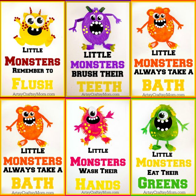 ArtsyCraftsyMom- 5 Super Cute Potato Print Monsters perfect for Halloween + Free Printable Little Monster Wall Art, that teaches good habits, and its free to download!