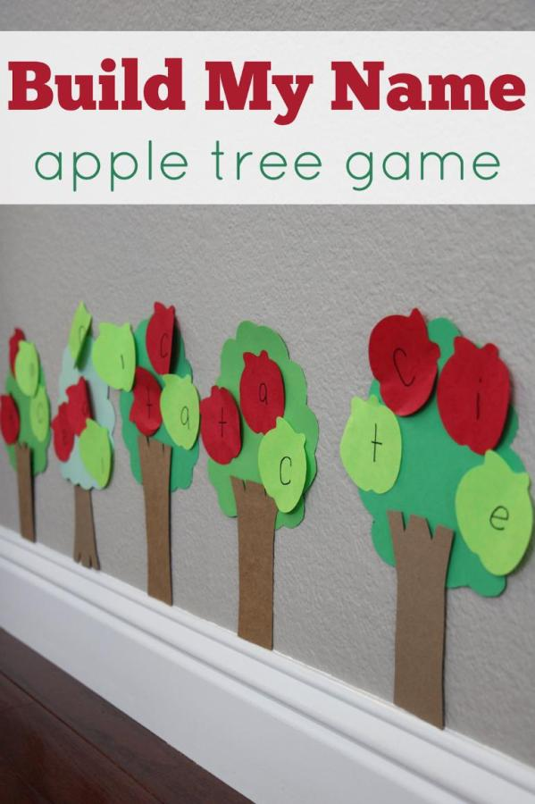 build my name apple tree game - Top 10 Easy Apple Crafts For Kids via ArtsyCraftsyMom - Games, prints, playdoh, paper plates -everything to get your kids excited about Fall with fun and easy apple crafts!
