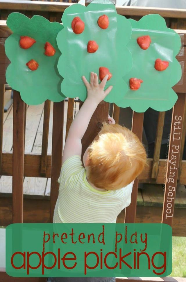 pretend play apple picking -Top 10 Easy Apple Crafts For Kids via ArtsyCraftsyMom - Games, prints, playdoh, paper plates -everything to get your kids excited about Fall with fun and easy apple crafts!