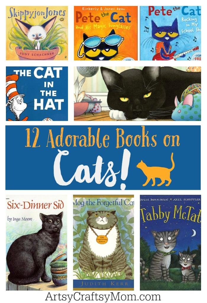 12 adorable books on Cats - October 29th is National Cat day - Sharing our favorite 21 Cat - themed craft activities & books. Free Printable, Art and craft activities and loads of books