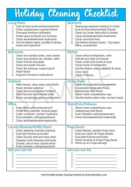 Free Printable Holiday Cleaning Checklist