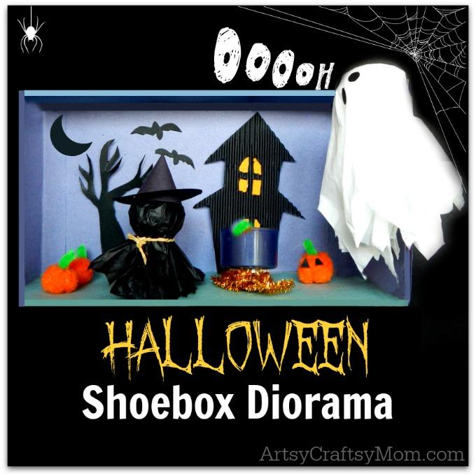 Here is a special Halloween diorama that is fun to make and play with too! Made of basic craft supplies and recycled materials, this is a must try craft!