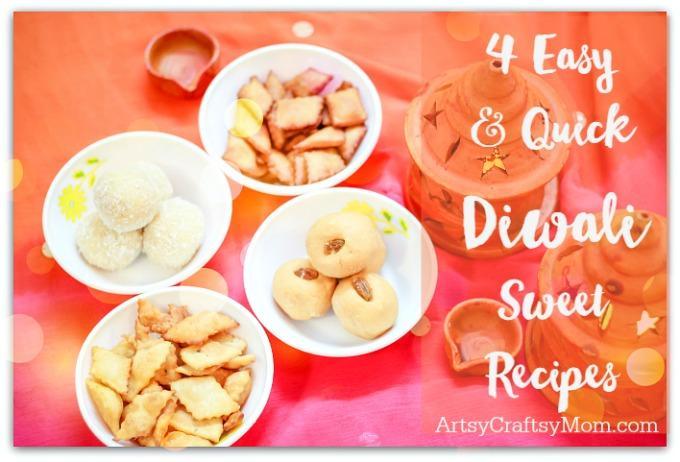 4 Easy & Quick Diwali Sweet Recipes- Make quick Diwali Sweets Recipes like Nariyal ladoo, besan ladoo, Instant Kalakand and Shankarpali. Perfect for conversations, laughter and family time.