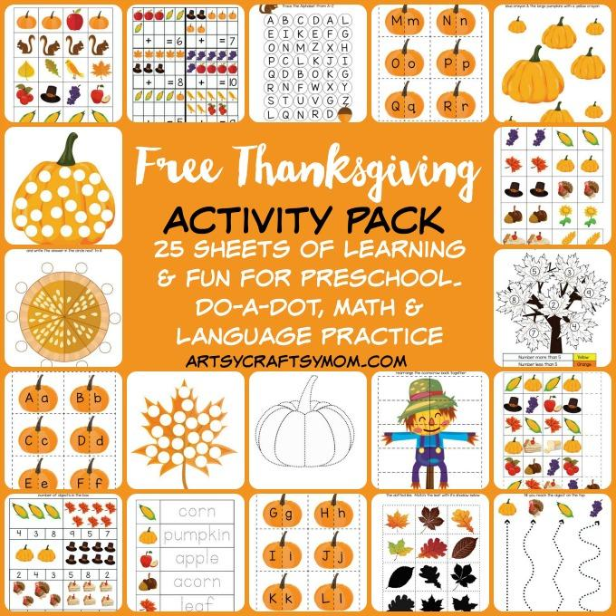Free Thanksgiving Preschool Activity Pack for PreK / Kindergarten is perfect for Thanksgiving. 26 sheets of learning and fun. Free download