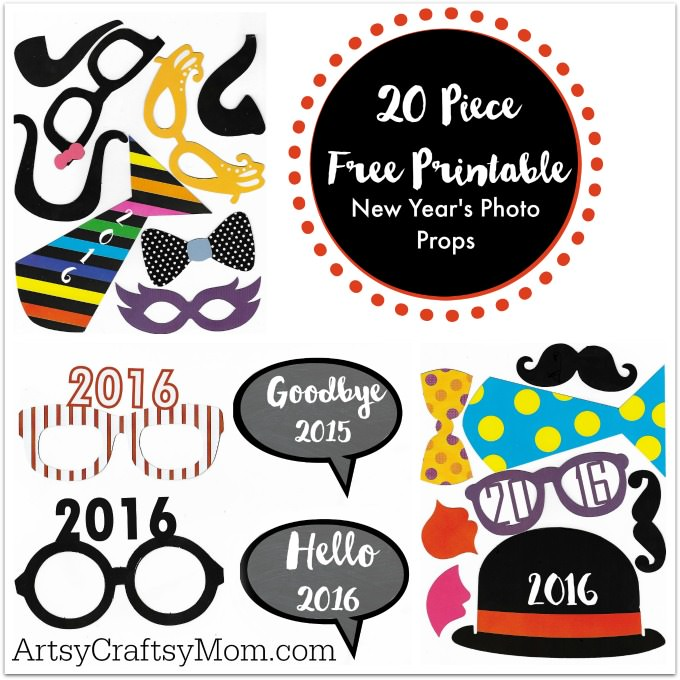 20 Free Printable New Year's Photo Props – celebrate the new year with friends and family with these adorable, free printables!